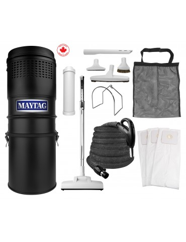 Maytag® Central Vacuum Kit - 566 Airwatts - 30' (9 m) Hose - Air Nozzle - Complete Set of Accessories