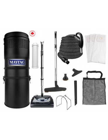 Maytag® Central Vacuum Kit - 566 Airwatts - 30' (9 m) Hose - Power Nozzle - Complete Set of Accessories