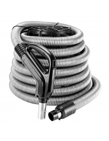 """Hose for Central Vacuum - 30' (9 m) - 1 3/8"""" (35 mm) dia - Silver - Ergonomic Handle with Foam Grip and 360° Swivel - On/Off Button - Button Lock"""