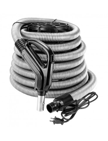 """Electrical Hose for Central Vacuum - 30' (9 m) - 1 3/8"""" (35 mm) dia - Silver - Ergonomic Handle with Foam Grip and 360° Swivel - On/Off Button - Power Nozzle Compatible - Button Lock"""